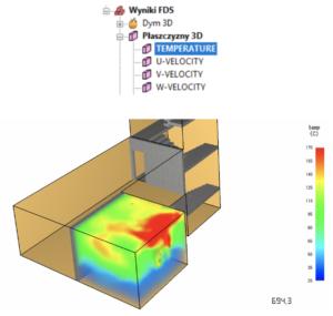 Płaszczyzny wynikowe 3D - program PyroSim