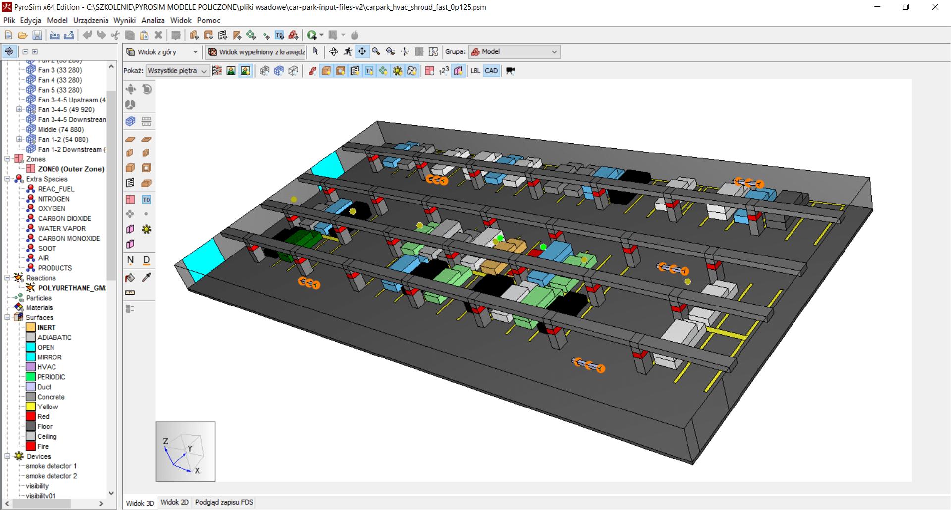 Widok 3D w programie PyroSim