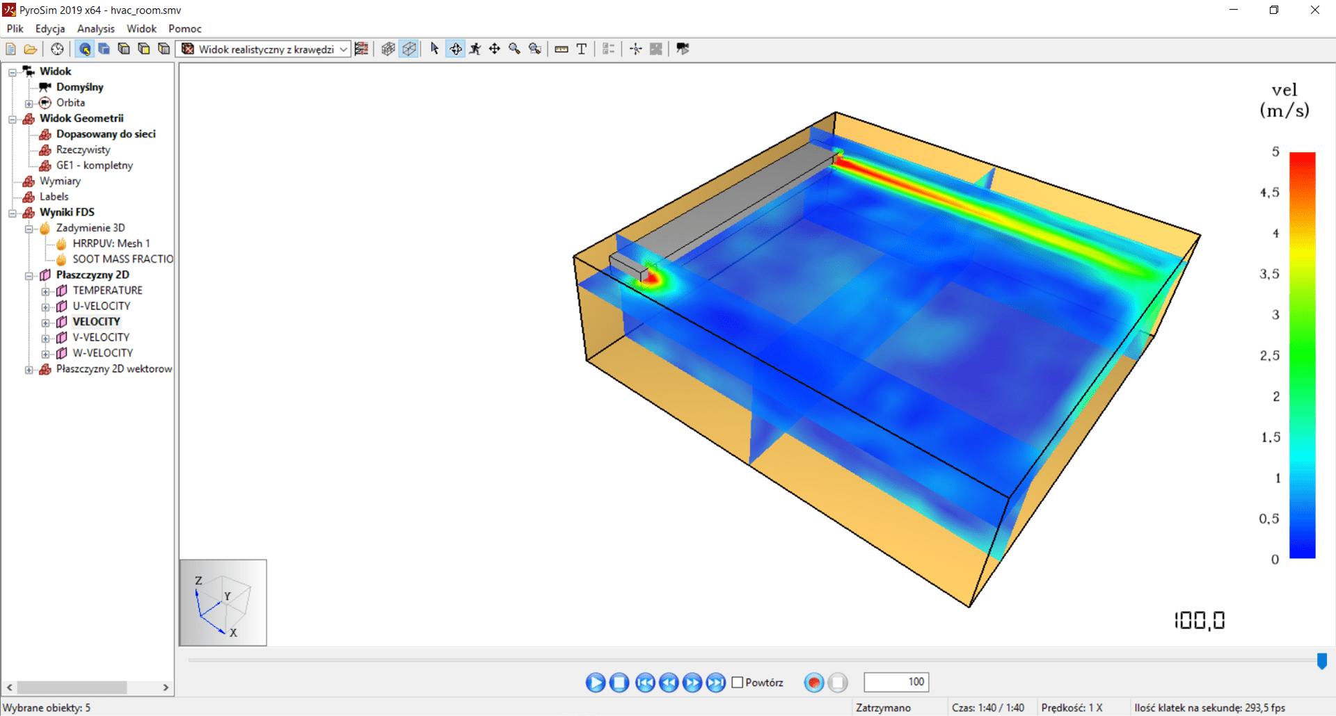 Wizualizacja prędkości HVAC - program PyroSim
